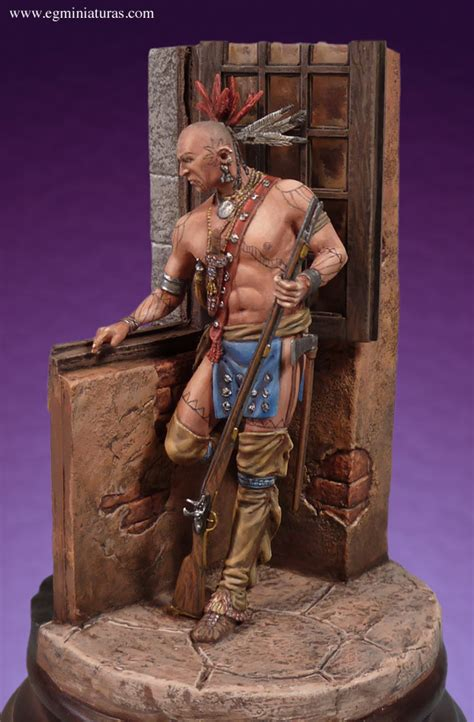 Iroquois Warrior in a Castle Romeo Models 75mm